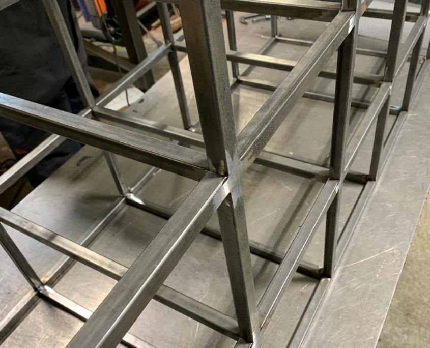 black metal storage shelves