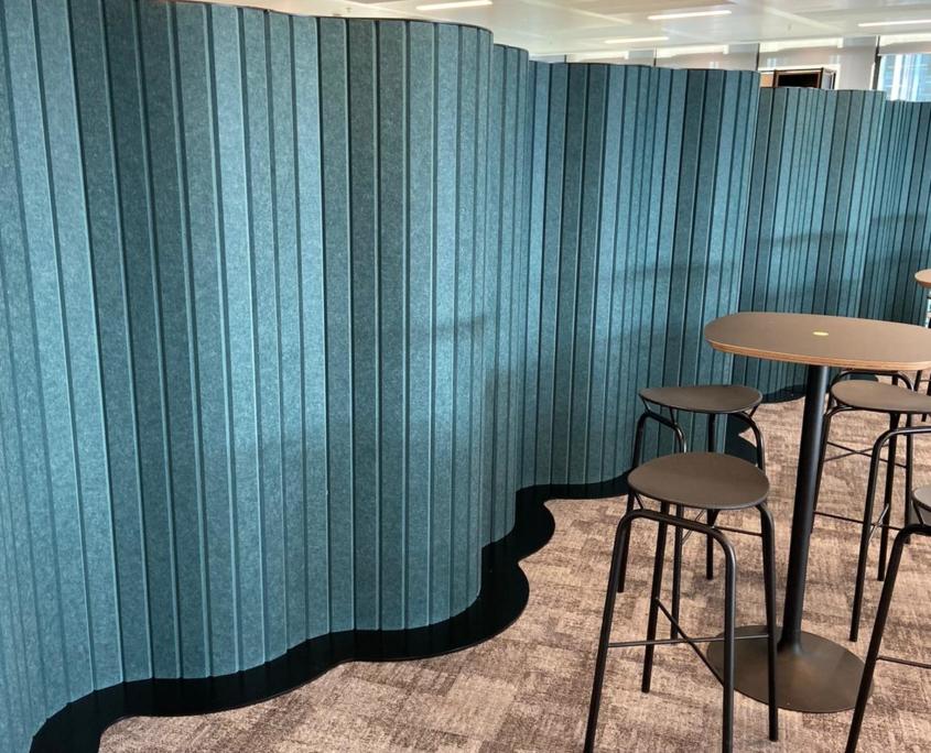 Blue metal sheet office divider